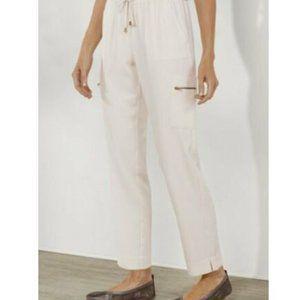 SOFT SURROUNDINGS Silk Cargo Pants Ivory N…